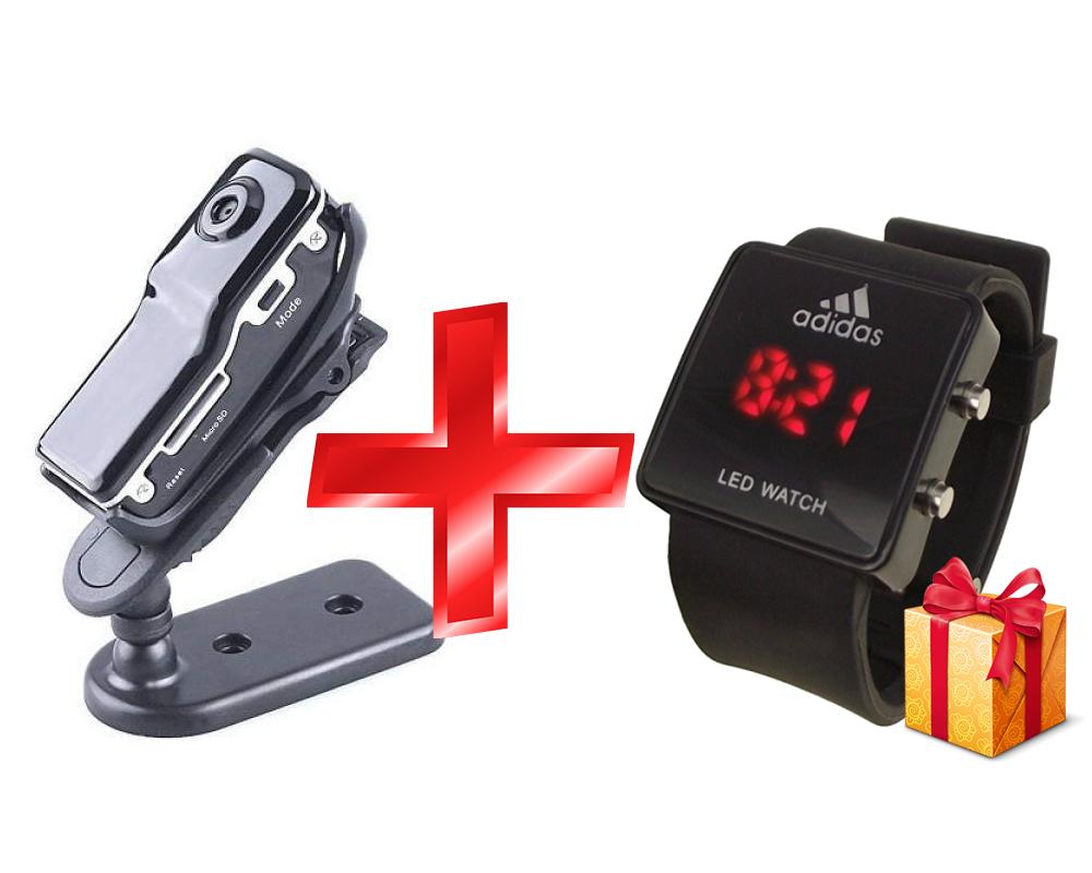 mini camera + часы Adidas в подарок