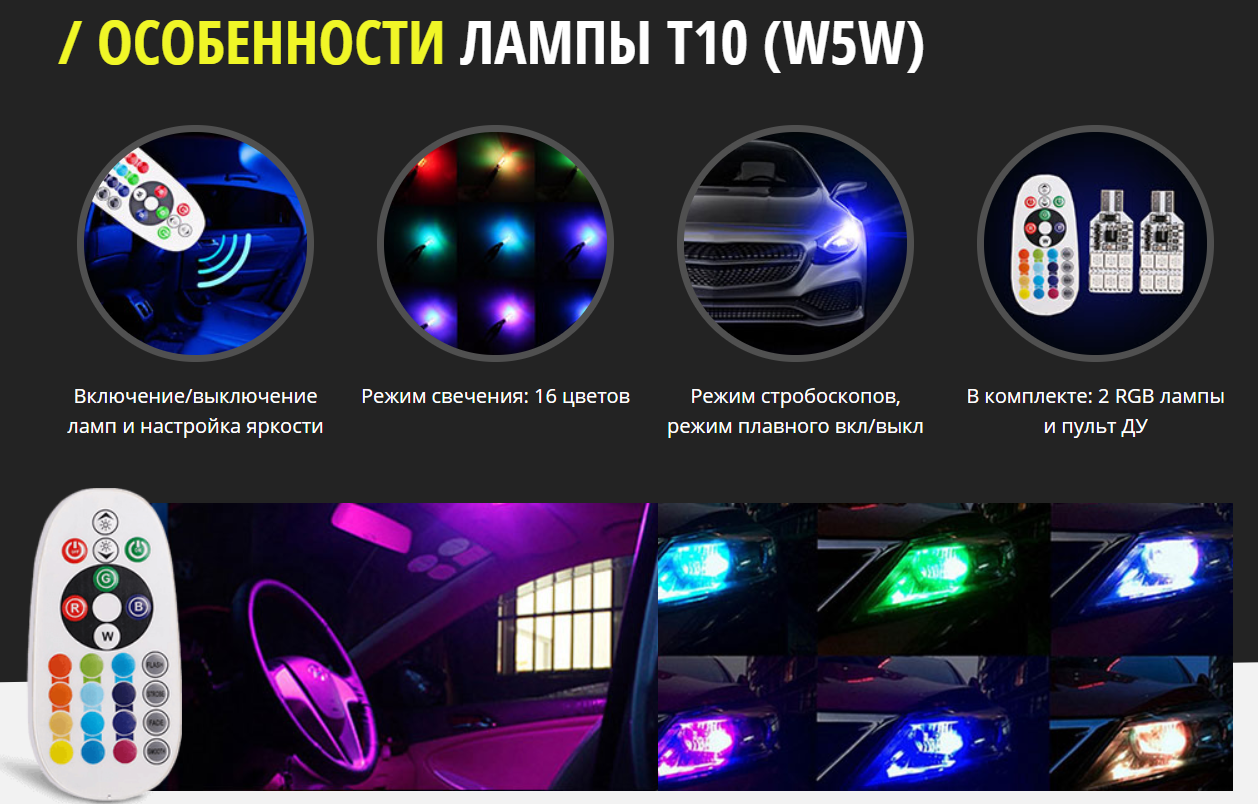 Мультицветные габаритные лампы для авто
