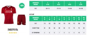 Размеры футбольной формы ЧМ 2018