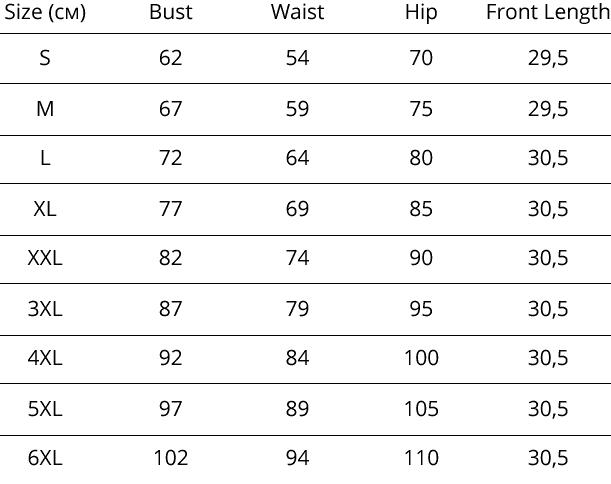 Таблица размеров Body Slimmer